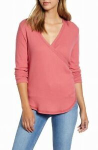 Caslon-Womens-Tops-Red-Size-Medium-M-Knit-Ribbed-Surplice-Stretch-49-645