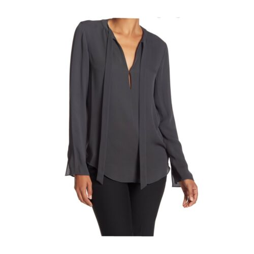 Theory tie-neck silk blouse, S