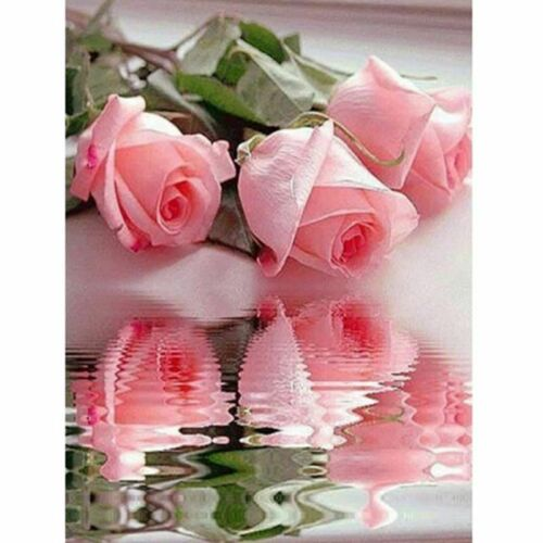 Diamonds Embroidery Partial Round Painting Pink Rose Cross Stitch Craft Mosaic