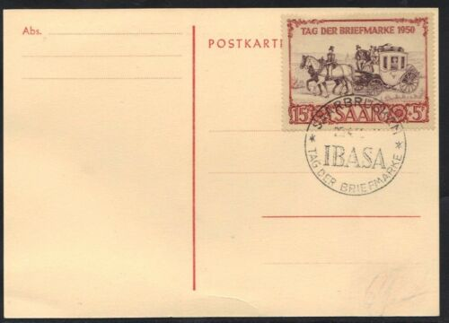 GERMANY SAAR LAND 1950 IBASA SOUVENIR CARD STAMP & SPECIAL CANCEL Mi. 291