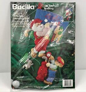Vtg-Bucilla-Golfing-Santa-Felt-Applique-18-034-Christmas-Stocking-83383-Kit-1996