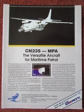 1/1992 PUB IPTN CN235 MPA MARITIME PATROL AIRCRAFT ASIAN AEROSPACE ORIGINAL AD