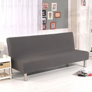 Image Is Loading Stretch Armless Sofa Bed Futon Cover Elastic Couch