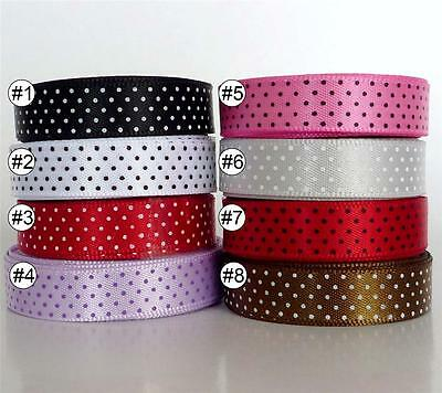"3/8""9mm Swiss Dots Multi-Colored Satin Ribbon Lot 5 /25/100 Yard Craft Sewing"