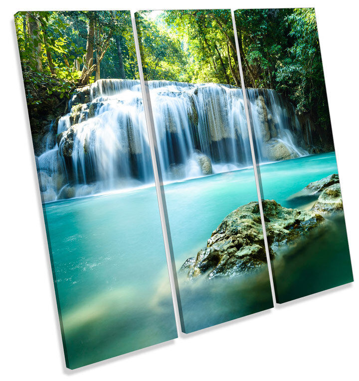 Paradise Waterfall Tropical Forest TREBLE CANVAS WALL ART Square Print Picture