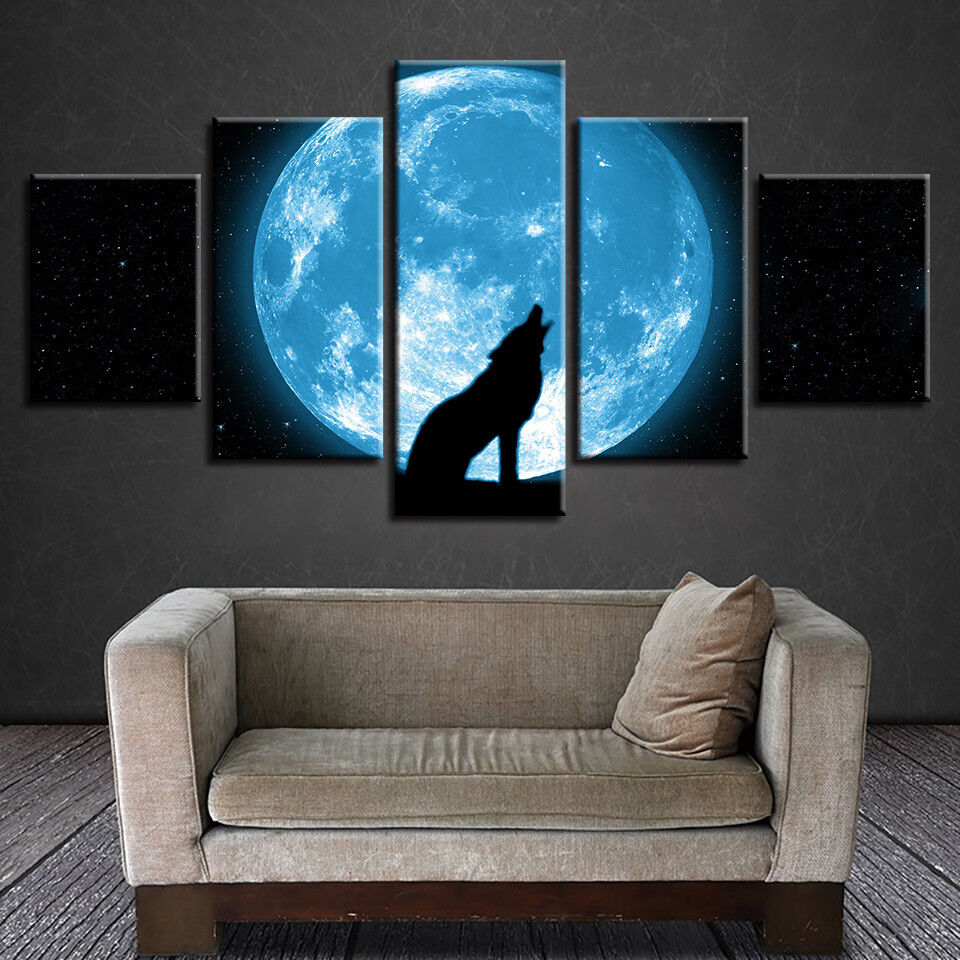 Moon And Roaring Wolf Abstract Night Painting 5 Panel Canvas Print Wall Art