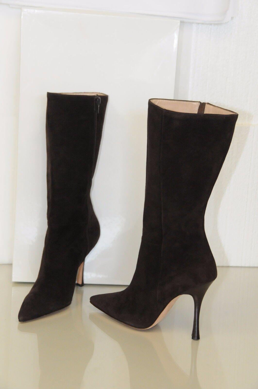 $1395 New MANOLO BLAHNIK GATTI GATTI BLAHNIK Chocolate Braun SOFTEST Suede BB Stiefel SHOES 39 2bfa11