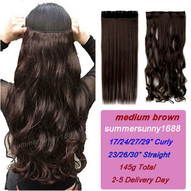 """17""""-30"""" Long New Curly Wavy Straight CLIP IN On HAIR EXTENSION 3/4 Full head ssn"""