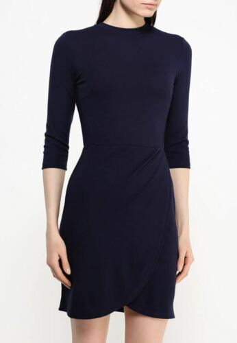 TOPSHOP BLACK and NAVY 2 COLOUR WRAP FRONT BODYCON MINI DRESS 3//4 SLEEVE