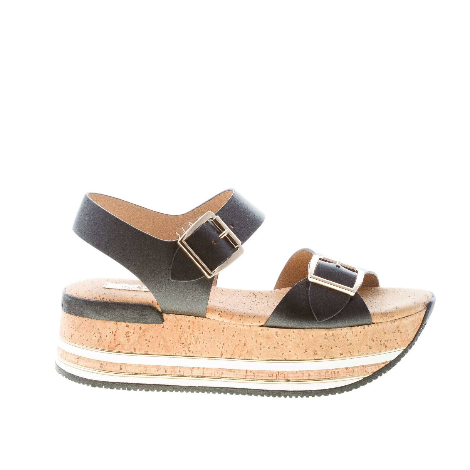 HOGAN damen schuhe H354 schwarz leder sandal maxi schnalle kork keil      Kostengünstig
