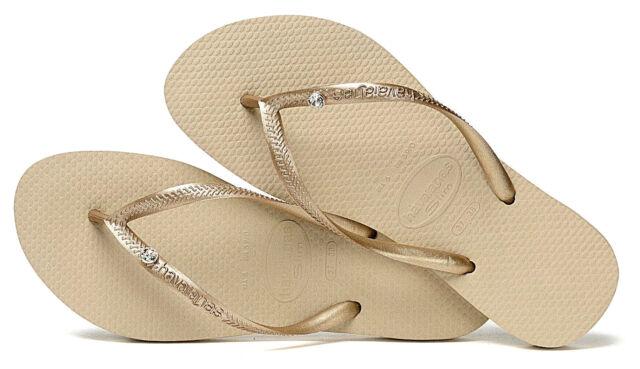 8f039a0d5 Havaianas Women`s Flip Flops Slim Crystal Glamour SW Sandals Sand Grey NWT
