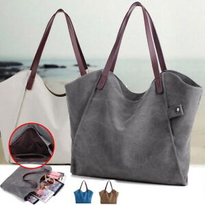 New-Women-Canvas-Large-Capacity-Tote-Bags-Handbag-Casual-Shoulder-Bag-Satchel-UK