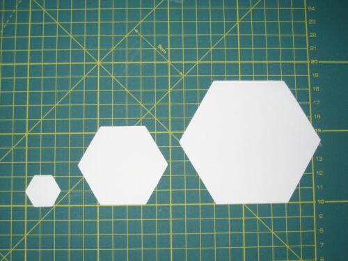 Größen Patchwork Quilt Papier Schablonen paper piecing Hexagon 6-Eck versch