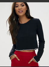 Basic Black Rib Longsleeve Crop Top Pretty Little Thing Buy Cheap Best Prices Best Seller Cheap Online Free Shipping Best Prices Clearance Discount DlDlFashD