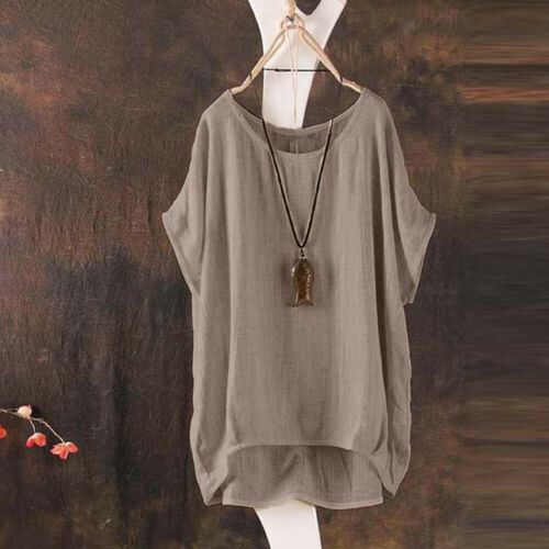 Summer Women Casual Plus Linen Tops Tee TShirt Vintage Boho Floral Loose Blouse