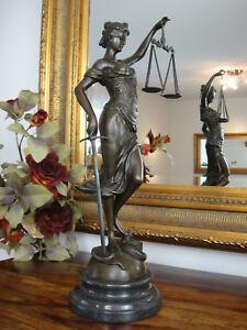 Bronze-Marmor-Justitia-Statue-Gottin-Antik-Justizia-Justicia-Edel-Figur-Skulptur