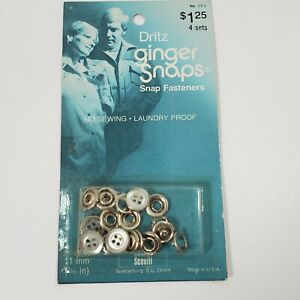 Vintage Ginger Snaps Gray SNAP FASTENERS Buttons Western Shirt Scovill