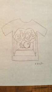 Bill-Schiffer-Design-Sketch-In-Pencil-T-Shirt-With-BURP-Bubble-SIGNED