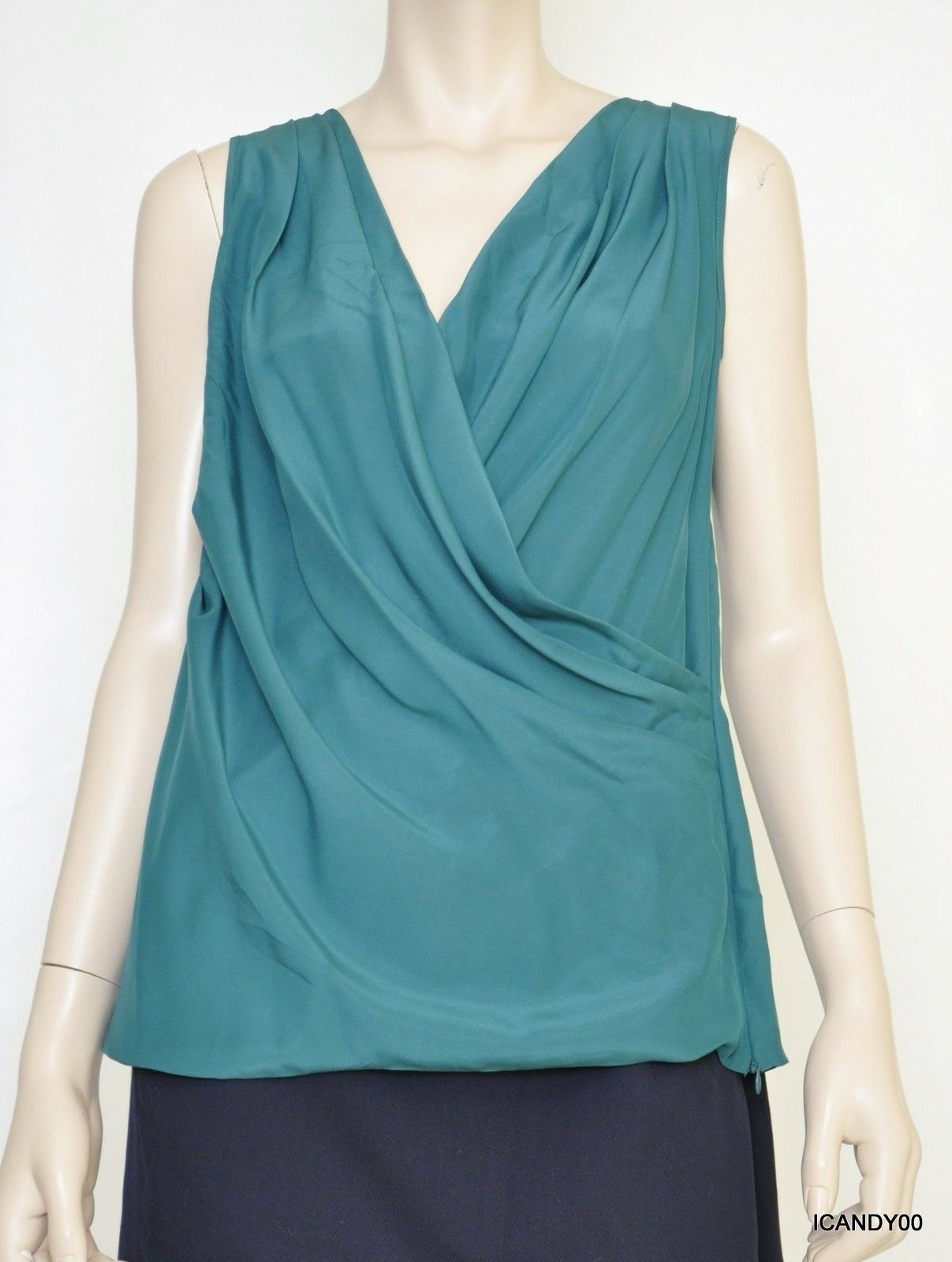 Nwt  Cynthia Steffe Silk Lace Faux Wrap  Dress Top Blouse Deep Jade 6