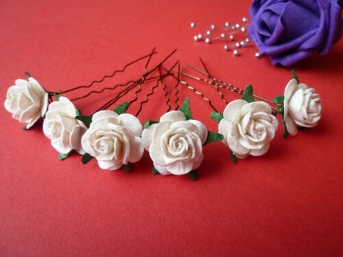 6 ROSE Capelli Pin Grip Fiore Matrimonio Damigelle ACCESSORI 20mm in dimensioni