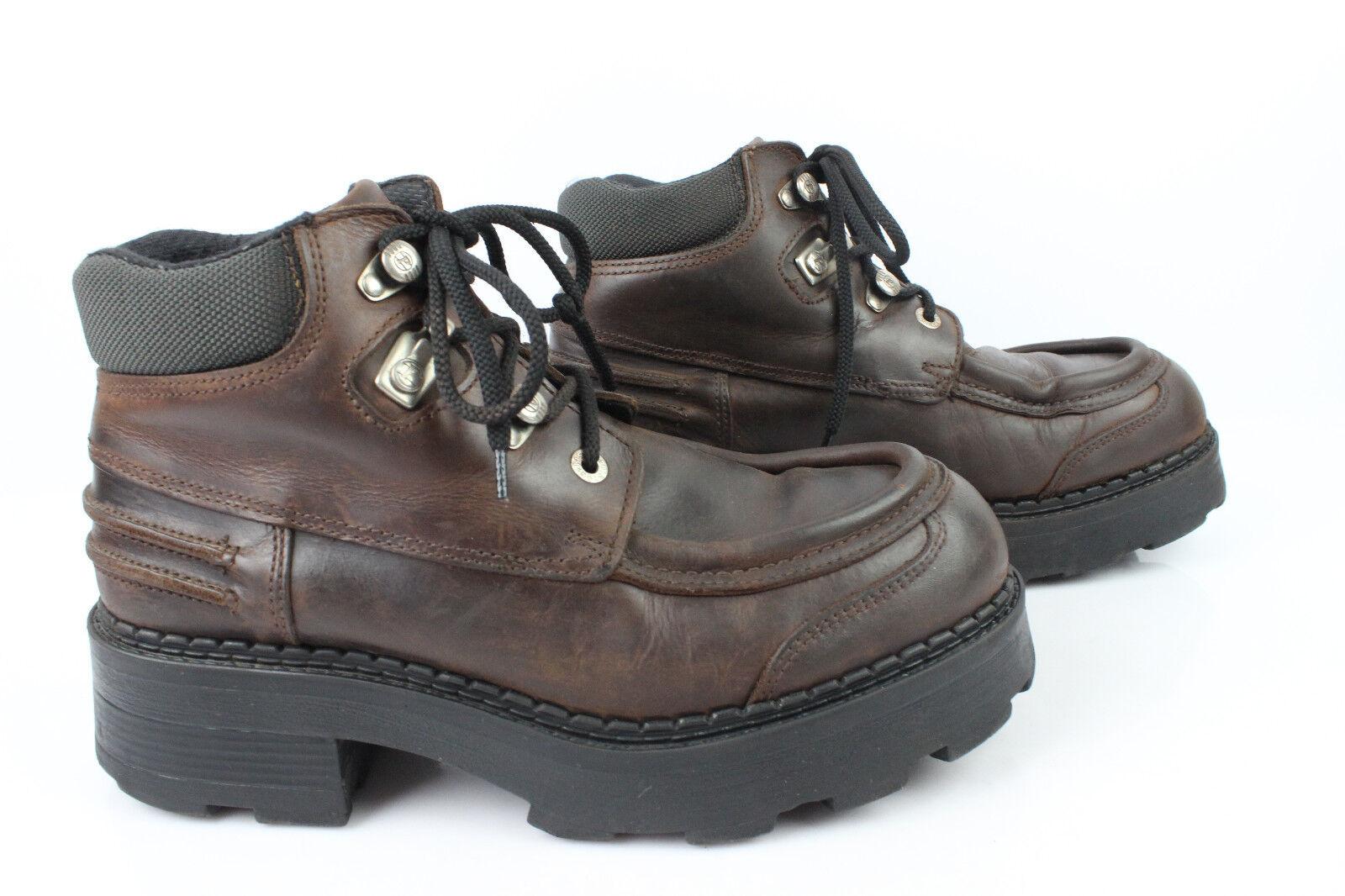 VINTAGE Scarpe Stivali Lacci scarpe PISTON Pelle Marrone T 44 BUONE CONDIZIONI