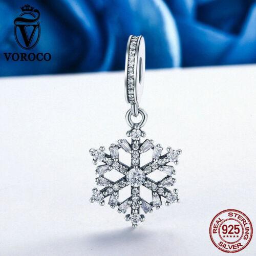 Voroco flocon de neige Véritable Argent Sterling 925 Pendentif Charm Coupe Zircone Cubique Bracelet Collier