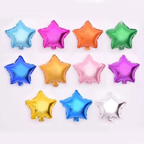 "5PCS 10/"" Plain Coloured Star Foil Balloons Party Helium Wedding Party Decoration"