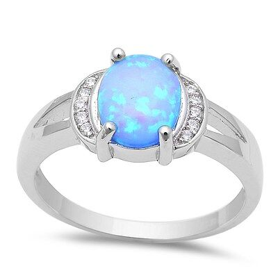 Oval Blue Fire Opal & Cubic Zirconia .925 Sterling Silver Ring Sizes 5-10