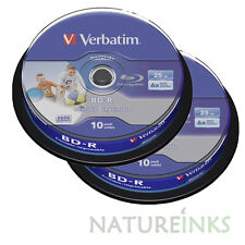 20 Verbatim 43804 White Printable Bluray 25GB 6x BD-R SL HTL Blank Discs Spindle