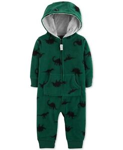 Carter-039-s-Baby-Boys-Hooded-Dinosaur-Print-Fleece-Coverall-Size-9-Months-18-Months
