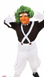 Ladies Charlie fabbrica di cioccolato Operaio Costume Umpa Lumpa Parrucca Costume