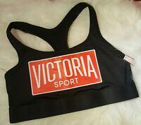 Victorias Secret Sport Bra Logo Gym Workout Top Black Red L Large