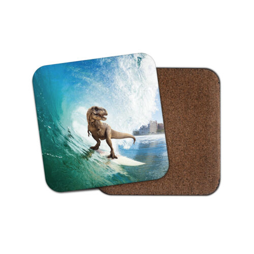 Cool Surfing Dinosaur Coaster Surfer Surf Beach Sea T-Rex Rex Fun Gift #13154