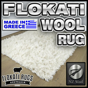 Flokati-Wool-Rug-SNOW-WHITE-Made-In-Greece-Shag-Greek-Large-Area-Rug-NEW