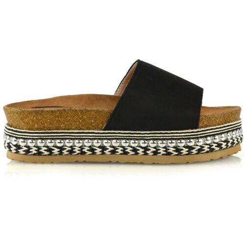Womens Slip On Flatform Sandals Ladies Espadrille Wedge Platform Studded Shoes