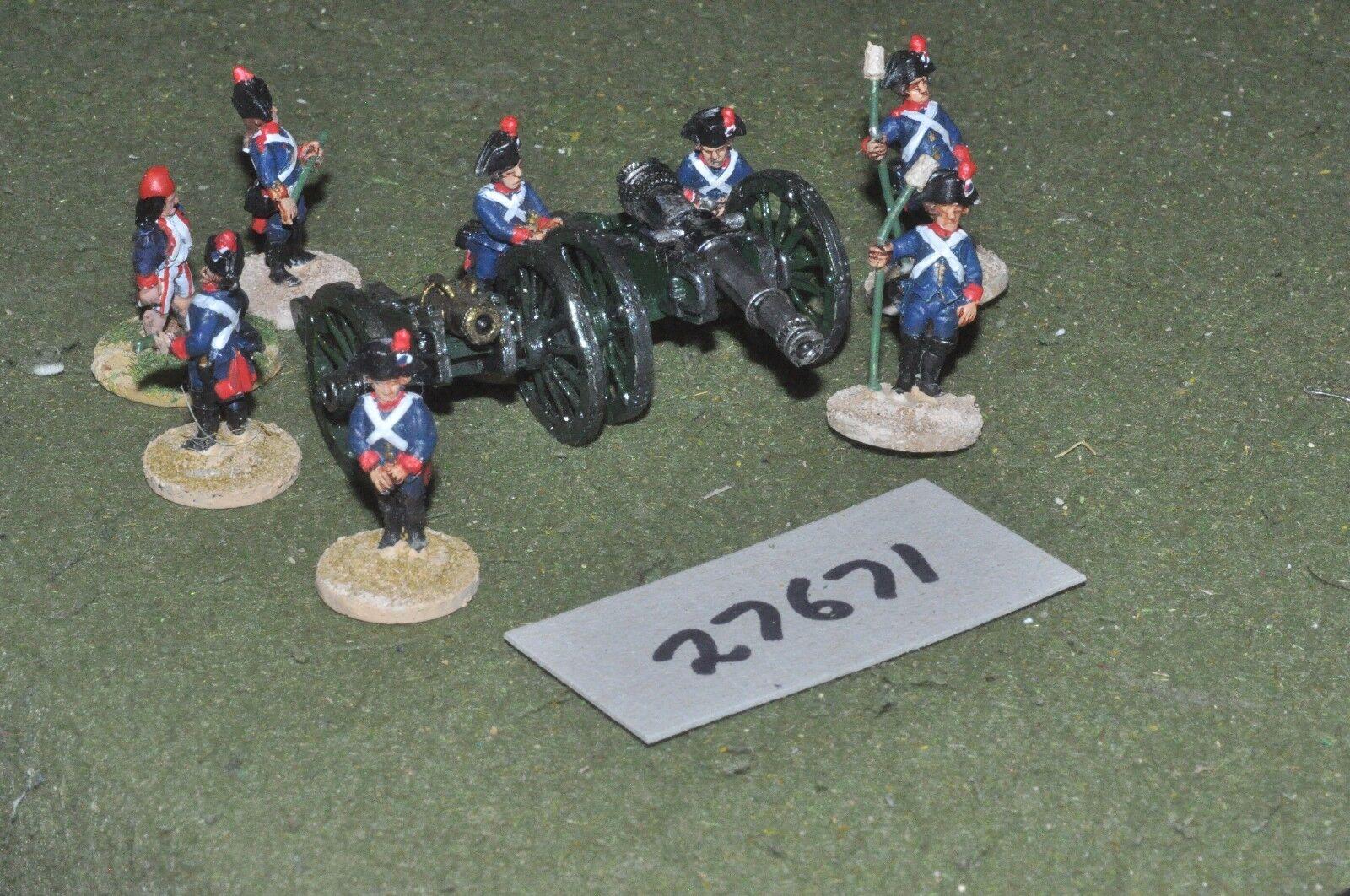 25mm napoleonic   french - revolutionary 2 guns & crews - art (27671)