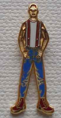 White /& Gold Enamel Pin Badge Skinhead Man Blue