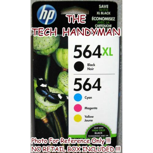 4-PACK HP GENUINE 564XL Black /& 564 Color Ink NO RETAIL BOX PHOTOSMART C6340