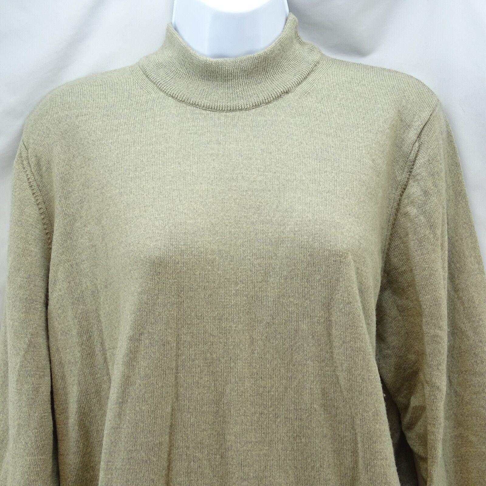 Women's Sweater Small Valda by Toscano Tan Merino Extra Fine Wool Pull Over