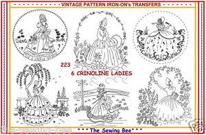 223-6-New-Crinoline-Lady-Ladies-Embroidery-IRON-ON-Transfers-Patterns