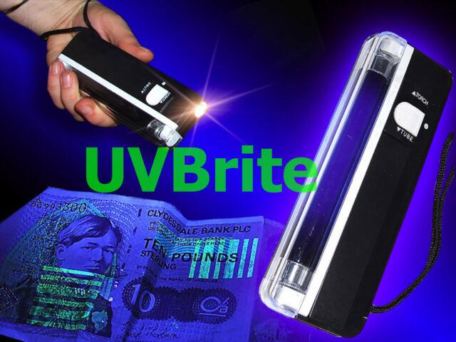 Counterfeit Polymer Bank Note Money Checker - Portable 6v 2-in-1 UV Blacklight
