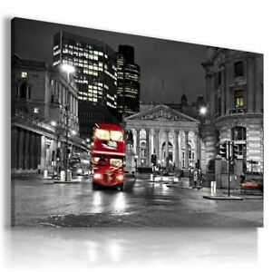 LONDON-BY-NIGHT-RED-BUS-Canvas-NEW-Wall-Art-Picture-Large-L111-X-MATAGA-ENGLAND