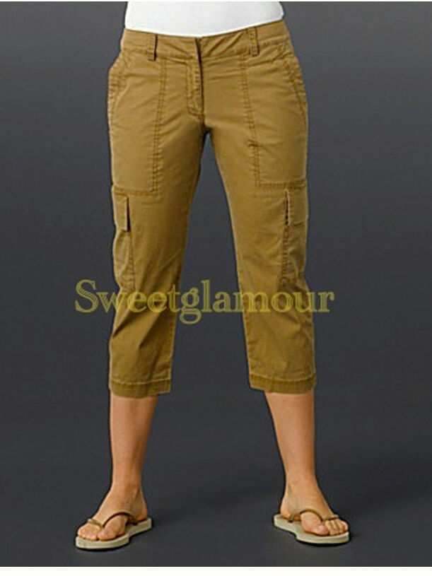 178 Eileen Fisher Olivine Stretch Tencel Twill Cropped Cargo Pants M