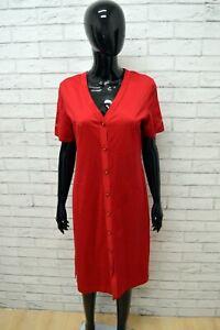 Vestito Martha Fashion Donna Taglia 44 Abito Woman Cotone Rosso Manica Corta éLéGant Dans Le Style