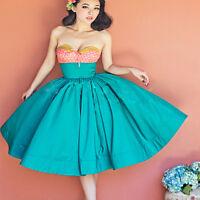 Ladies High Waist Summer Skater Swing Pleated Flared Dress Skirt Full Circle New