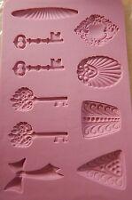 Polymer Clay Mold Silicone 10 Molds Keys Bow Filigree Triangle Diamond + Jewelry