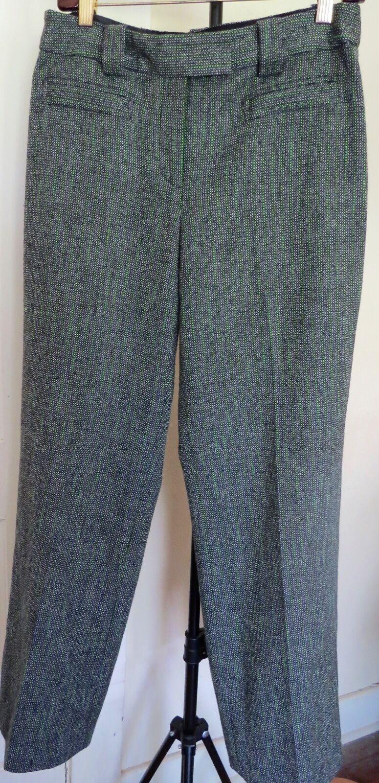 Etcetera Grün   Mehrfarbig Tweed Weites Bein Polyester Mischung Hose Größe 6