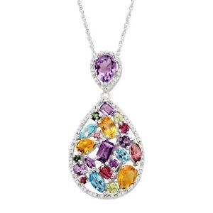 Rainbow Natural Multi-Stone & 1/5 ct Diamond Teardrop Pendant in Sterling Silver