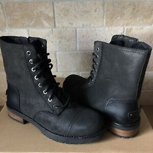 219660375e5 Details about UGG Kilmer II Black Water-resistant Leather Combat Short  Boots Size 7 Womens