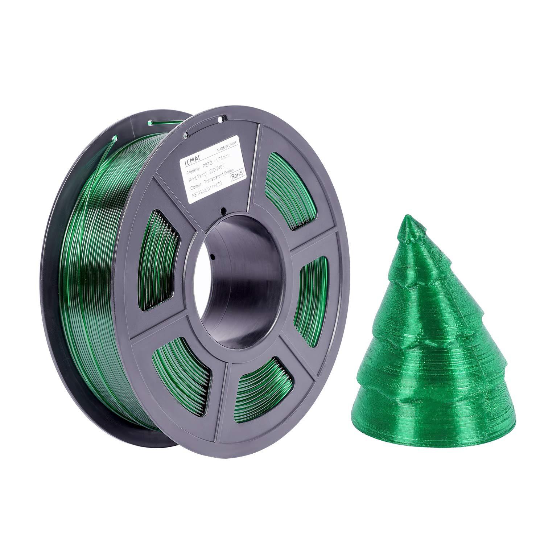 3D PETG Printer Filament Transparent Green, PETG 1kg(2.2lbs), Dimensional 1.75mm